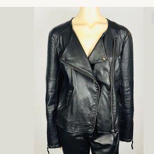 🔥Top Shop Faux Leather Jacket Biker SZ 12 Black